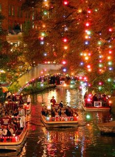 Beautiful Christmas lights ,  San Antonio River Walk : Jewel of the city , Texas