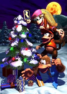 Christmas with the Kongs All Video Games, Video Game Art, Geeks, Super Mario, Marvel Cartoon Movies, Banjo Kazooie, Diddy Kong, Donkey Kong Country, Retro Videos