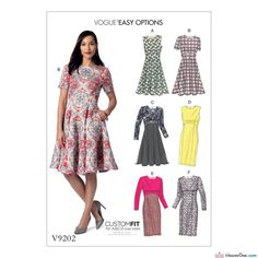 Vogue Sewing Pattern V9202 Misses' Dresses with Flared or Straight Skirt Options … WeaverDee.com