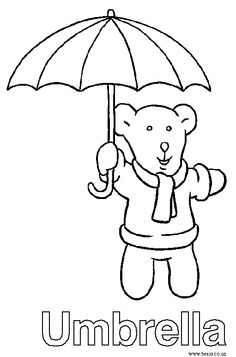 Letter U is for Umbrella Coloring Page Preschool Kids Bulk Color
