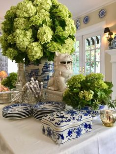 Blue and white chinoiserie vase and hydrangeas