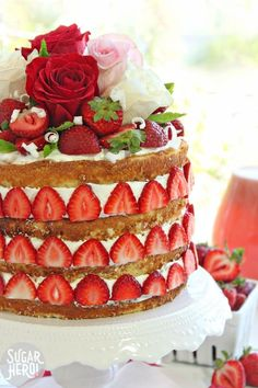 Strawberry Rhubarb Shortcake - fresh strawberries on a semi-naked cake. The perfect summer dessert!