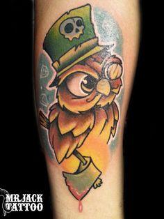 #gufo #owl #tatuaggi #tattoo #mrjack #mrjacktattoo #color #arte #artist #colortattoo #bodyart #mrjacktattoofamily  #cartoon #tattoocartoon