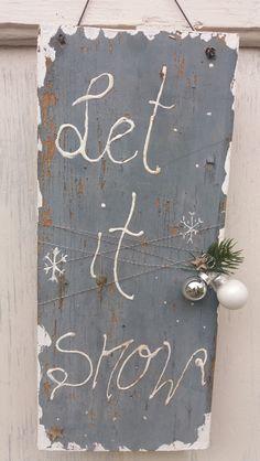 """Weihnachtsdeko - Schild """" Let it...."""" - ein Designerstück von HausNo7 bei DaWanda"""