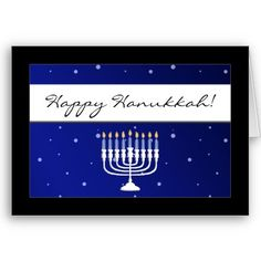 Blue and White Menorah Snow Happy Hanukkah Cards from http://www.zazzle.com/hanukkah+cards