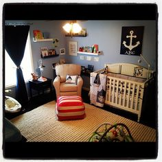 Beau's Nursery - What a great carpet, it goes so nicely with the blue walls!
