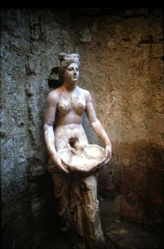 A 'nymph' or goddess found in the ancient Roman spa of Allianoi, Turkey.  The healing waters flowed from her womb....