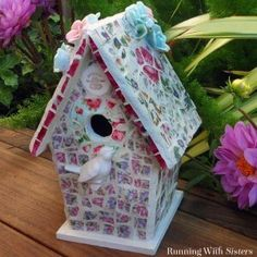 Mosaic a birdhouse with broken china. Pretty project for the garden!
