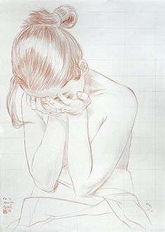 """""""Asa ni Namida"""" (Morning Tears) by Paul Binnie (b. discreet semi-nude female with head in hands, conté drawing with pale grid pattern. Sad Drawings, Cool Art Drawings, Art Drawings Sketches, Drawing Feelings, Drawing Tears, Sad Girl Drawing, Emotional Drawings, Tears Art, Art Therapy Projects"""