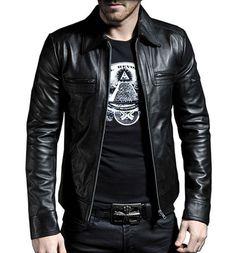 Men Leather Jacket Black New 100% Genuine by standardleather