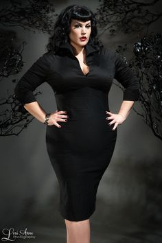pinup couture - maria wiggle dress in navy ponte - plus size
