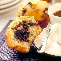 Blueberry-Stuffed Mini Muffins: don't like the muffin recipe (cheese), but like the blueberry preserves idea