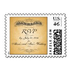 "Vintage Wedding RSVP Postage Stamp with the word ""marriage"" in old-fashioned font on tea-stained paper effect. You can personalize the stamp with the bride and groom names and with the RSVP date. By Elke Clarke©. Purchase at www.zazzle.com/monogramgallery* or go to www.monogramgallery.ca for more wedding ideas."