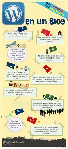 10 errores habituales en un Blog #infografia #infographic #socialmedia.. Repinned by @Jag Tomas #ixu
