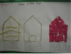Great 3 Little Pigs houses project to build small motor skills! Motrocidad fina. From: http://prekinders.com/fairy-tales-theme/
