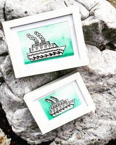 boats ships watercolor ink frames sailing