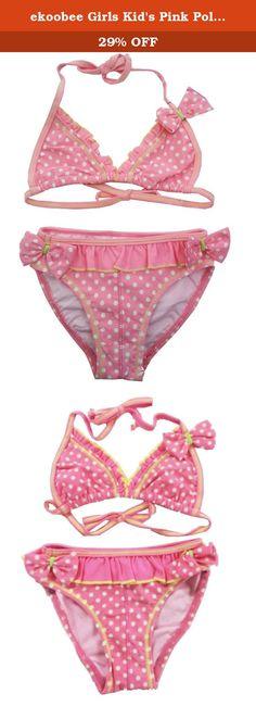 ekoobee Girls Kid's Pink Polka Dot Bikini Swimwear Swimming Suit. Nice Swimwear.