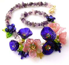 Lampwork Glass Necklace Flowers Necklace  Cobalt by silviaizkovich, $140.00