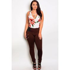 Brown Plus Size Stretch Pant #SkyPlus #Jegging #Any