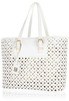 River Island White metallic laser cut beach tote bag on shopstyle.co.uk