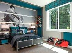 Inglewood Place: Guest Bedroom 3 (Polygon Northwest) - We really enjoy the bold graphic that showcases this room for a teenage boy.(Cool Beds For Teenagers) Bedroom Themes, Home Decor Bedroom, Bedroom Ideas, Boy Toddler Bedroom, Bedroom Boys, Toddler Boys, Boy Bedrooms, Teenage Room, Man Room