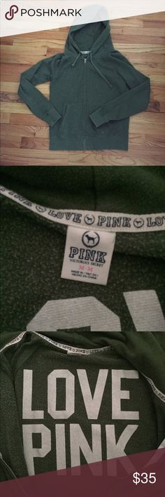 VS PINK Green Zip Hoodie Sweatshirt M VS PINK green zip up hoodie. Size medium. Runs true to size, would fit a small/medium best. In good used condition. PINK Victoria's Secret Sweaters