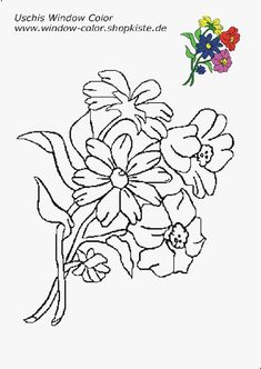 Blumen-Vorlagen 3 Coloring Sheets, Coloring Pages, Diy And Crafts, Paper Crafts, Bird Embroidery, Flower Template, Tree Leaves, String Art, Stained Glass