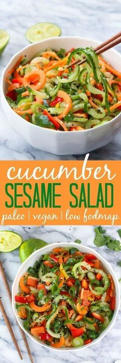 Asian Cucumber Sesame Salad: Bright flavors and crunchy textures! Vegan | Paleo | Low FODMAP