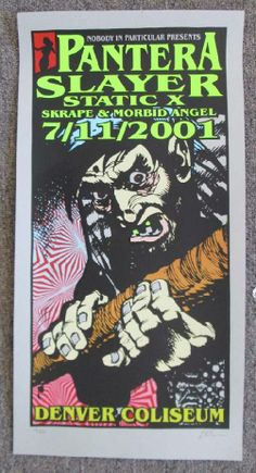 Original silkscreen concert poster for Pantera and Slayer at the Denver Coliseum in Denver, CO in 2001. Hand-screened limited edition of onl...