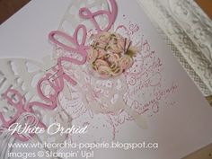 A light & airy looking thank-you using the hello you thinlits by Stampin' Up!  www.whiteorchid-paperie.blogspot.ca