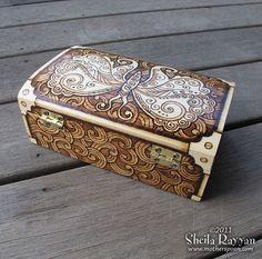 Steampunk Butterfly Box - pyrography woodburning