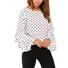 Tops | Women Shirt Long Sleeve Polka Dots Ruffle Top | Poshmark Casual Tops For Women, Blouses For Women, Ladies Tops, Women's Blouses, Chiffon Blouses, Chiffon Shirt, Bell Sleeve Blouse, Bell Sleeves, Blouse Dress