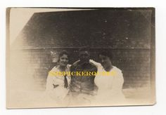 Antique Vintage Photograph~2 Woman 1 Man~Outside~House~Male Females~Group