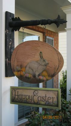Shingle on front porch-Easter Bunny