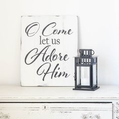 O Come Let Us Adore Him Christmas Sign {ready-to-ship} - Aimee Weaver Designs, LLC Christmas Projects, Christmas Ideas, Christmas Signs Wood, Reclaimed Barn Wood, White Wood, Beautiful Christmas, Wood Signs, Hand Painted, Let It Be