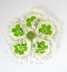 Quilted Large Fabric Hair Clip Floral #Flowers Green Button White Lace Trim Photo Prop Girls Barrett Hair Accessories Handmade