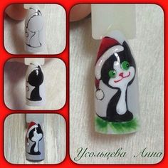 Diseño de uñas aquí! ♥ ♥ ♥ Foto Lecciones en Video manicura | VK Nail Art Noel, Winter Nail Art, Christmas Nail Art, Winter Nails, Chistmas Nails, Xmas Nails, Holiday Nails, Holiday Nail Designs, Colorful Nail Designs