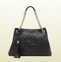 0ec35007b9 $218 GUCCI SOHO LEATHER TOTE BLACK Gucci Shoulder Bag, Leather Shoulder Bag,  Black Leather
