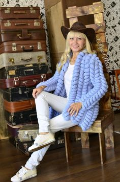 Sky blue cardigan, knitted cardigan, fashion cardigan, cardigan lalo