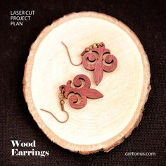 Wood earrings.  Free plan for laser cutting