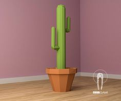 Cactus XXL Saguaro 3D, pdf Download,  Papercraft pattern, Interior Design, model papercraft, DIY lowpoly, DIY paper sculpture di EBURgami su Etsy