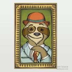 Professor Slothworth, Classy Critters Series Old Portraits, Bowler Hat, Lady And Gentlemen, Sloth, Professor, Doodles, My Arts, Classy, Rock