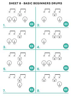 Sheet 1 - Easy Reading Beats & Fills - Learn Drums For Free Drums For Kids, Drum Lessons For Kids, Music Lessons, Drum Sheet Music, Drums Sheet, Learn Drums, How To Play Drums, Drum Rudiments, Drum Notes