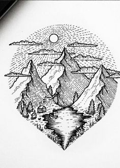 70 ideas for tattoo mountain lake Mountain Drawing, Mountain Tattoo, Ink Illustrations, Illustration Art, Drawing Sketches, Art Drawings, Tattoo Studio, Stippling Art, Desenho Tattoo