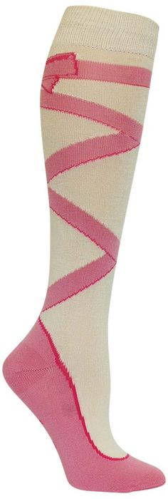 Graceful and elegant, these fun socks are the perfect addition to any dancer's wardrobe of tights and costumes. The colorful ribbon that wraps around your calf adorned with a bow at the top is the del