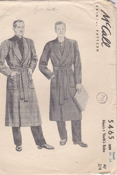 1940's Sewing Pattern McCalls 5465 Mens by jennylouvintage