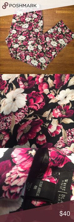 💕🎀 WHBM Pink Floral Print Slim Ankle Pants Jeans Gorgeous floral print slim ankle pants. Size 4R (regular length) White House Black Market Pants Ankle & Cropped