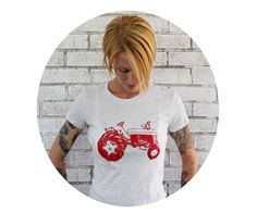 Tractor Tshirt Ladies Fitted Cotton Graphic Tee by CausticThreads, $20.00
