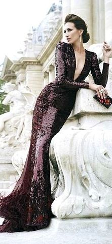 Chanel fluid long gown sleeves dress sequins burgundy purple aubergine stunning fitted deep v-neck feathers