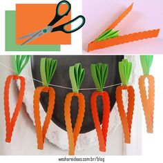bandeira de cenoura para páscoa feita de papel colorido.